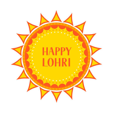 Happy Lohri vector illustration. Traditional Indian festival of winter solstice. Hindu celebration poster. Easy to edit  template for greeting card, party invitation, banner, flyer. Illusztráció