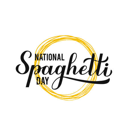 National Spaghetti Day calligraphy hand lettering isolated on white background. Easy to edit vector template for typography poster, design, banner, flyer, sticker, bar or restaurant menu, etc. Illusztráció