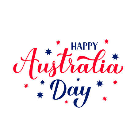 Happy Australia day calligraphy hand lettering isolated on white. Easy to edit vector template for banner, typography poster, greeting card, flyer, sticker, etc.