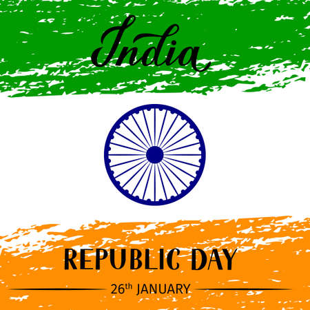 India Republic Day grunge vector illustration. Indian holiday celebration typography poster. Easy to edit template for greeting card, flyer, banner, t-shirt, etc.