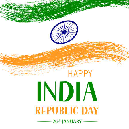 India Republic Day vector illustration. Indian holiday celebration typography poster. Easy to edit template for greeting card, flyer, banner, t-shirt, etc.