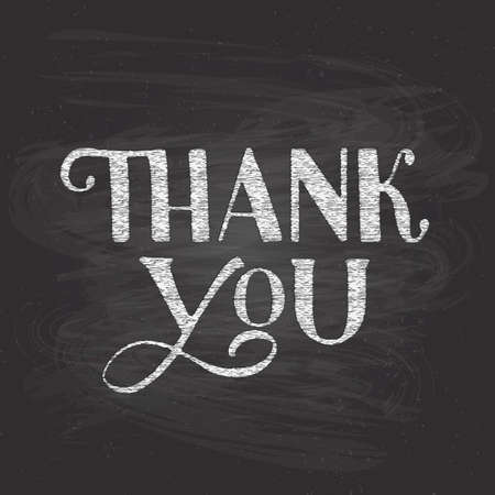 Thank you hand written on chalkboard background. Grunge vector illustration. Easy to edit template for wedding thank you cards, tags, banners, posters, labels, etc. Illusztráció