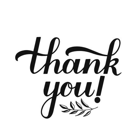 Thank you hand lettering isolated on white background. Handwritten modern brush calligraphy. Easy to edit vector template for greeting card, banner, typography poster, sticker, tag, label, t-shirt.