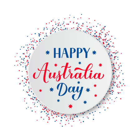 Happy Australia day calligraphy hand lettering on white paper plate. Easy to edit vector template for banner, typography poster, greeting card, flyer, sticker, etc.