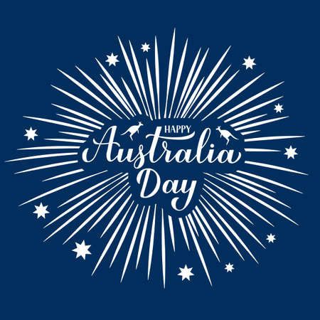 Happy Australia day calligraphy hand lettering witn fireworks and stars on blue background. Easy to edit vector template for banner, typography poster, greeting card, flyer, sticker, etc.