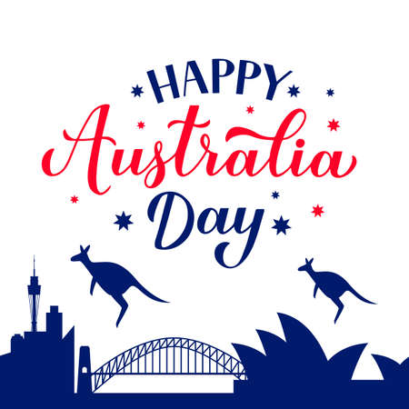 Happy Australia day calligraphy hand lettering. Sidney city skyline and silhouette of a kangaroos. Vector template for banner, typography poster, greeting card, flyer, t-shirt, postcard, etc.