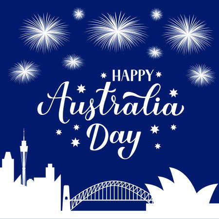 Happy Australia day calligraphy hand lettering. Sidney city skyline and fireworks in the night sky. Vector template for banner, typography poster, greeting card, flyer, t-shirt, postcard, etc.