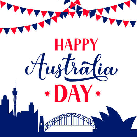Happy Australia day calligraphy hand lettering. Sidney city skyline background. Vector template for banner, typography poster, greeting card, flyer, t-shirt, postcard, etc.