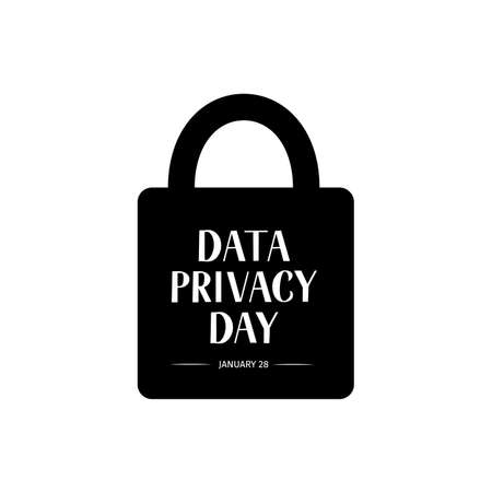 Data Privacy Day vector illustration with lettering and closed lock. Easy to edit template for typography poster, banner, postcard, flyer, sticker, brochure, booklet, etc.