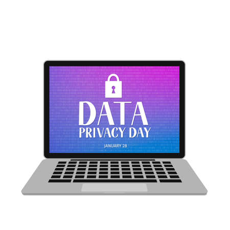 Data Privacy Day vector illustration with lettering and closed lock on screen of laptop. Easy to edit template for typography poster, banner, postcard, flyer, sticker, brochure, booklet, etc.