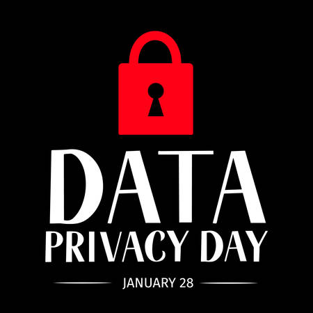 Data Privacy Day vector illustration with lettering and closed lock. Easy to edit template for typography poster, banner, postcard, flyer, sticker, booklet, brochure, etc.