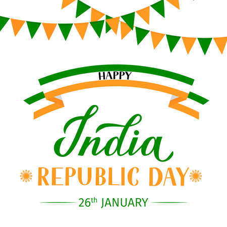 India Republic Day vector illustration. Indian holiday Celebration typography poster. Easy to edit template for greeting card, banner, flyer, t-shirt, etc.