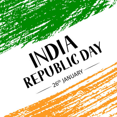 India Republic Day grunge vector illustration. Indian holiday celebration typography poster. Easy to edit template for greeting card, banner, flyer, t-shirt, etc.