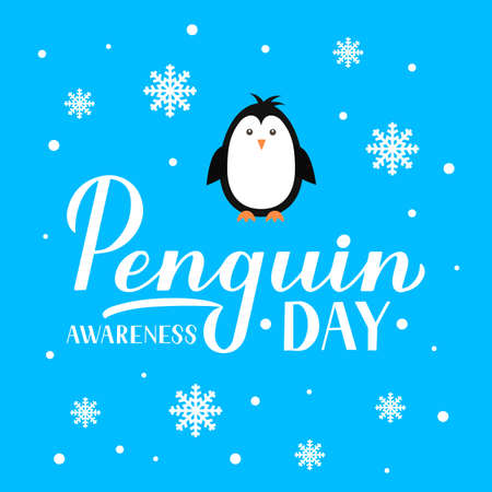 Penguin Awareness Day lettering with snowflakes and cute cartoon baby penguin on blue background. Ecology concept typography poster. Vector template for banner, greeting card, flyer, sticker, etc.