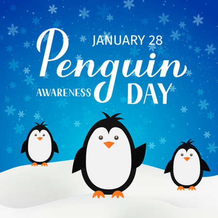 Penguin Awareness Day lettering with cute cartoon baby penguins on blue background with snowfall. Ecology concept typography poster. Vector template for banner, greeting card, flyer, sticker, etc. Illusztráció