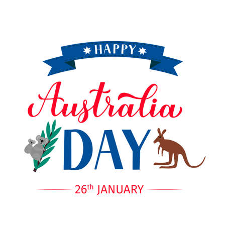 Happy Australia day calligraphy hand lettering with cute cartoon koalas and kangaroo isolated on white. Vector template for banner, typography poster, greeting card, flyer, t-shirt, postcard, etc.