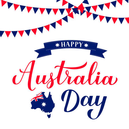 Happy Australia day calligraphy hand lettering with Australian map and flag isolated on white background. Easy to edit vector template for banner, typography poster, greeting card, flyer, sticker. Illusztráció