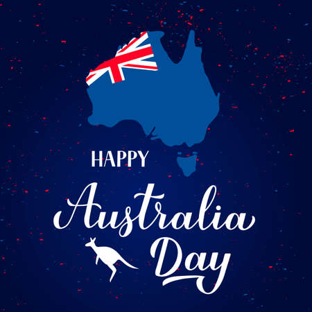 Happy Australia day calligraphy hand lettering with and silhouette of a kangaroo, Australian map and flag. Easy to edit vector template for banner, typography poster, greeting card, flyer.