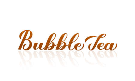 Bubble Tea calligraphy lettering with shadow. Letters made of bubblies. Easy to edit vector template for design, banner, typography poster, flyer, sticker, drink menu for bar, cafe, restaurant.