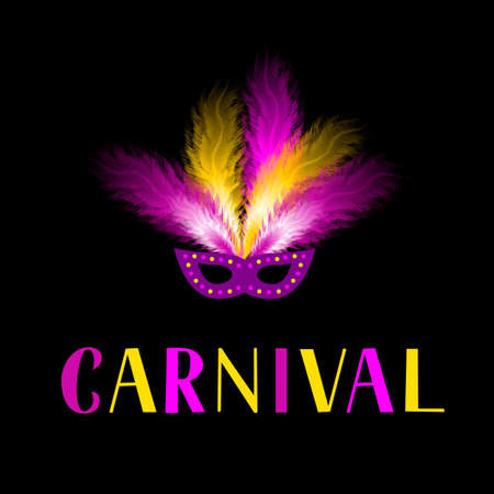 Carnival lettering with mask and colorful feather on dark background. Masquerade party poster or invitation. Vector template for carnival of Venice, Brazil, New Orleans, Oruro, Nice, etc.