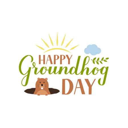 Happy Groundhog Day calligraphy hand lettering with cute cartoon groundhog isolated on white. Easy to edit vector template for greeting card, typography poster, banner, flyer, sticker, etc.