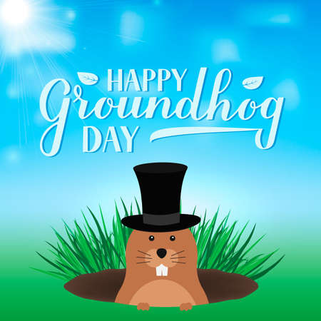 Groundhog Day vector illustration with modern calligraphy hand lettering and cute cartoon groundhog. Easy to edit template for greeting card, typography poster, banner, flyer, etc. Illusztráció