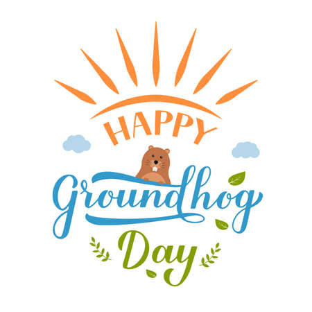 Happy Groundhog Day postcard with calligraphy hand lettering with funny cartoon groundhog. Easy to edit vector template for greeting card, typography poster, banner, flyer, sticker, etc.