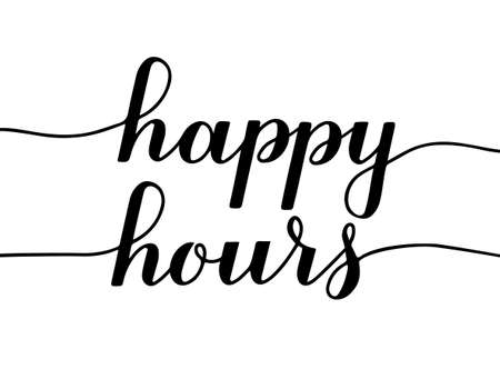 Happy Hours calligraphy hand lettering isolated on white. Special offer promotion banner. Easy to edit vector template for advertising, poster, sign, flyer, etc.