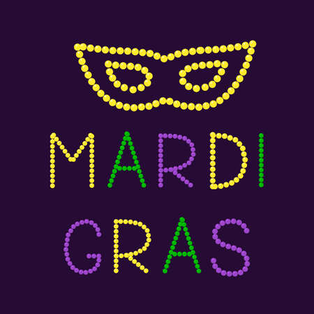 Mardi Gras lettering and mask made of colorful beads. Fat or Shrove Tuesday typography poster. Traditional carnival in New Orleans. Vector template for banner, greeting card, flyer, party invitation. Illusztráció