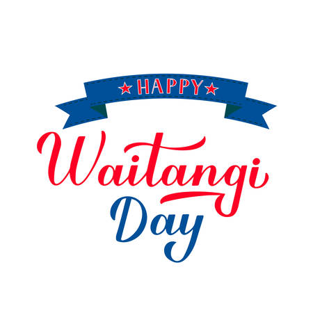 Happy Waitangi Day calligraphy hand lettering isolated on white. New Zealand holiday typography poster. Easy to edit vector template for greeting card, flyer, banner, sticker, etc.