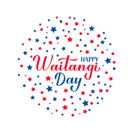 Happy Waitangi Day calligraphy hand lettering isolated on white. New Zealand holiday greeting card. Easy to edit vector template for typography poster, banner, flyer, sticker, etc. Illusztráció