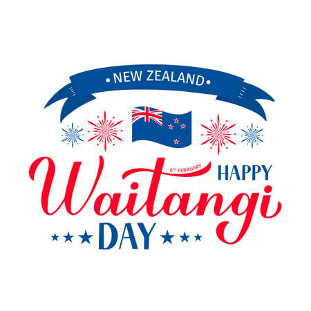 Happy Waitangi Day banner with modern calligraphy hand lettering, flag of New Zealand and fireworks. Easy to edit vector template for greeting card, typography poster, flyer, sticker, etc.