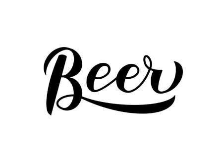 Beer calligraphy hand lettering isolated on white. Easy to edit vector template for brewery or pub logo design, typography poster, banner, flyer, bar menu, t-shirt, mug, etc.
