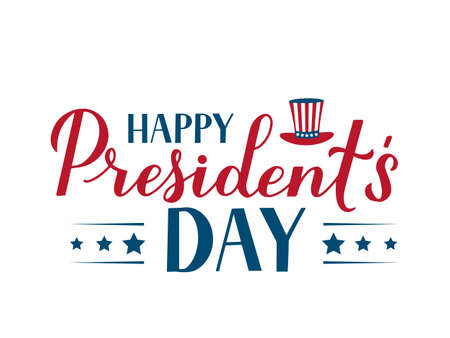 Happy Presidents Day calligraphy lettering isolated on white. American patriotic typography poster. Vector illustration. Easy to edit template for logo design, banner, greeting card, postcard, flyer.