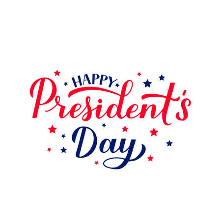 Happy Presidents Day calligraphy lettering isolated on white. American patriotic typography poster. Easy to edit vector template for logo design, banner, greeting card, postcard, flyer, etc. Illusztráció