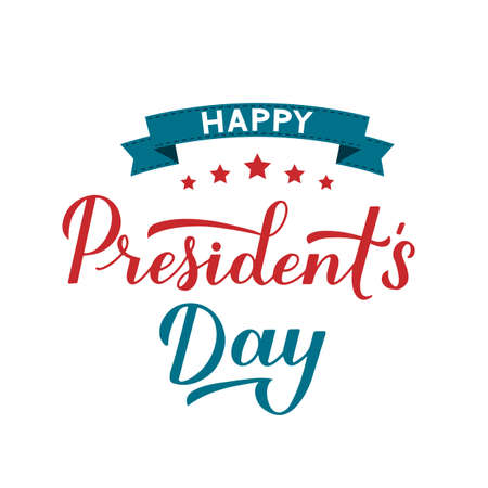 Happy Presidents Day calligraphy hand lettering isolated on white. American patriotic typography poster. Easy to edit vector template for logo design, banner, greeting card, postcard, flyer, etc.