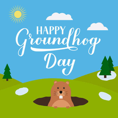 Groundhog Day vector illustration with modern calligraphy hand lettering and cute cartoon groundhog. Easy to edit template for typography poster, greeting card, banner, flyer, postcard, etc. Ilustracja
