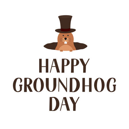 Happy Groundhog Day lettering and cute cartoon marmot with hat isolated on white. Easy to edit vector template for greeting card, typography poster, banner, flyer, sticker, etc.
