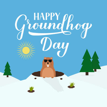 Groundhog Day vector illustration with modern calligraphy hand lettering and cute cartoon marmot crawling out of a hole on a sunny day. Vector template for postcard, poster, banner, flyer, etc. Ilustracja