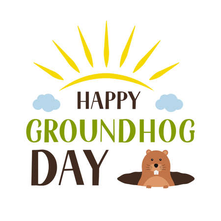 Happy Groundhog Day lettering and cute cartoon marmot crawling out of a hole isolated on white. Easy to edit vector template for greeting card, typography poster, banner, flyer, sticker, etc.