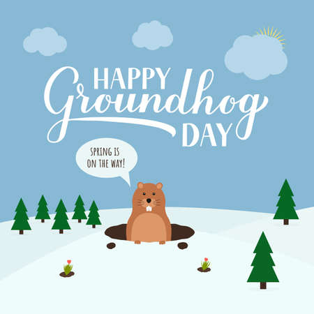 Groundhog Day vector illustration with modern calligraphy hand lettering and cute cartoon marmot crawling out of a hole on a cloudy day. Vector template for postcard, poster, banner, flyer, etc. Ilustracja