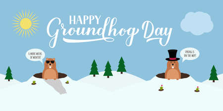 Groundhog Day vector illustration with modern calligraphy hand lettering and cute cartoon marmot crawling out of a hole on a cloudy day. Vector template for postcard, poster, banner, flyer, etc. Illustration