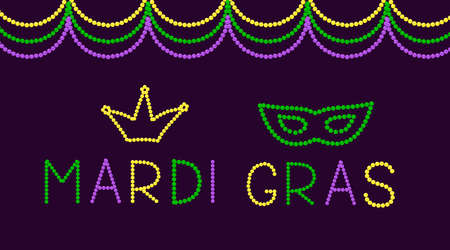 Mardi Gras lettering and mask made of colorful beads. Traditional carnival in New Orleans. Fat or Shrove Tuesday typography poster.  Vector template for banner, greeting card, flyer, party invitation.