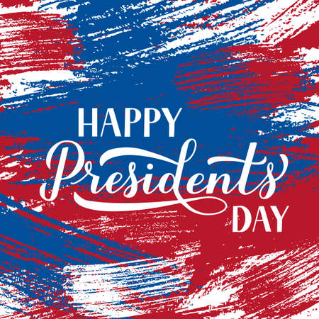 Happy Presidents Day calligraphy lettering on brush stroke grunge background. American holiday typography poster. Easy to edit vector template for logo design, banner, greeting card, postcard, flyer.