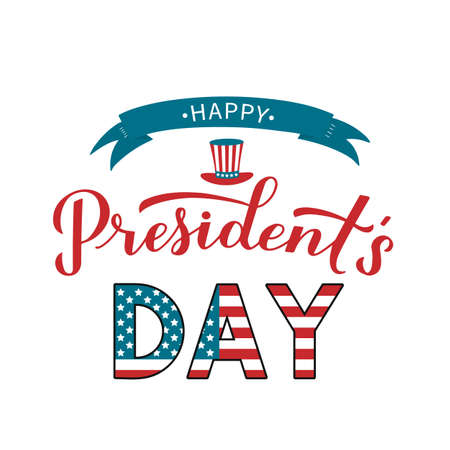 Happy Presidents Day calligraphy lettering with Uncle Sam hat and ribbon. American patriotic typography poster. Easy to edit vector template for logo design, banner, greeting card, postcard, flyer. Illusztráció