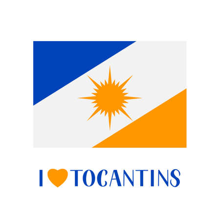 Flag of Tocantins state of Brazil and lettering with heart isolated of white. Easy to edit vector template for banner, typography poster, logo design, postcard, t-shirt, flyer, sticker, label, etc. Illusztráció