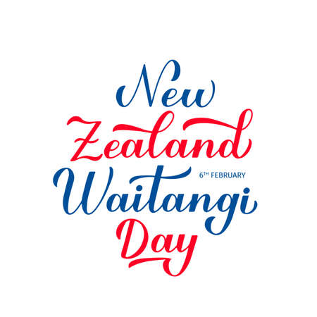 New Zealand Waitangi Day calligraphy hand lettering isolated on white. Easy to edit vector template for greeting card, typography poster, banner, flyer, sticker, etc.