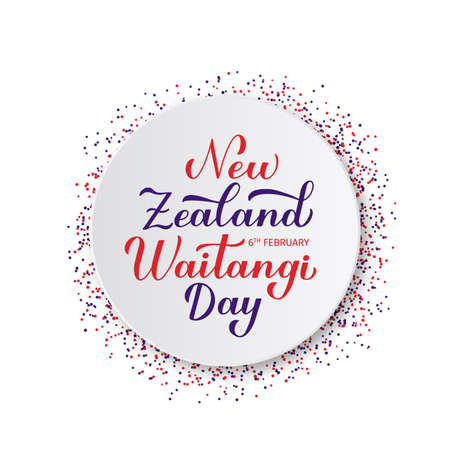 New Zealand Waitangi Day calligraphy hand lettering on white paper plate. Easy to edit vector template for typography poster,greeting card, banner, flyer, sticker, etc. Illusztráció