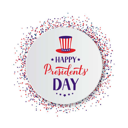 Happy Presidents Day calligraphy lettering on white paper plate with red and blue confetti. Easy to edit vector template for logo design, typography poster banner, greeting card, postcard, flyer.