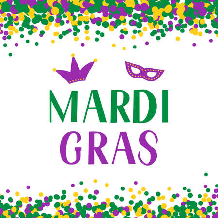 Mardi Gras lettering on background with colorful confetti. Traditional carnival in New Orleans. Fat or Shrove Tuesday typography poster. Vector template for banner, flyer, party invitation.